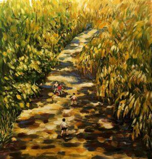 Tranh Trái bóng và tuổi thơ mùa hạ