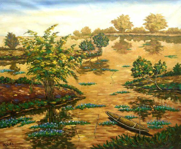 Tranh Khúc sông quê chiều