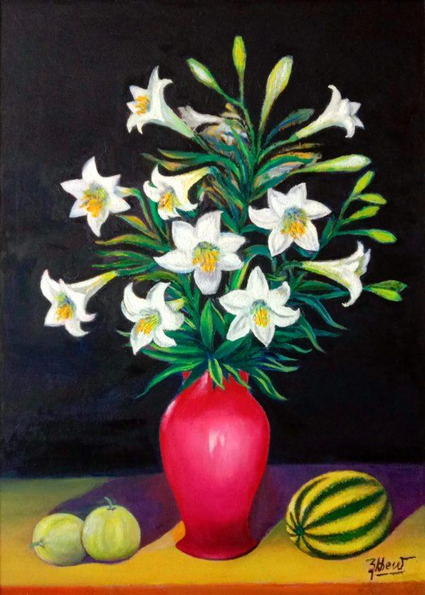 Tranh Hoa Loa Kèn trắng