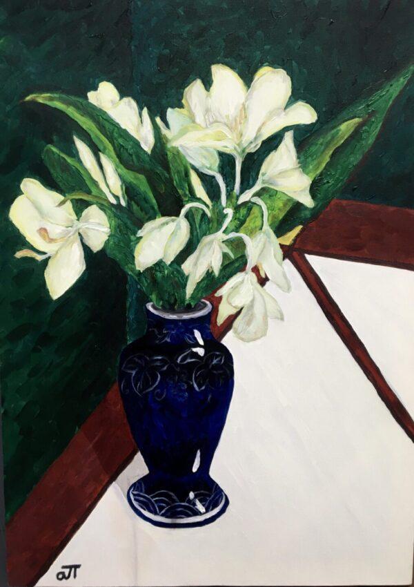 Tranh Hoa trắng bên tường nhung