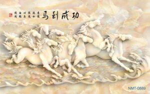 Tranh dán tường 3D Bầy ngựa trắng