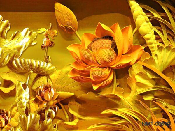 Tranh dán tường 3D Bông sen vàng