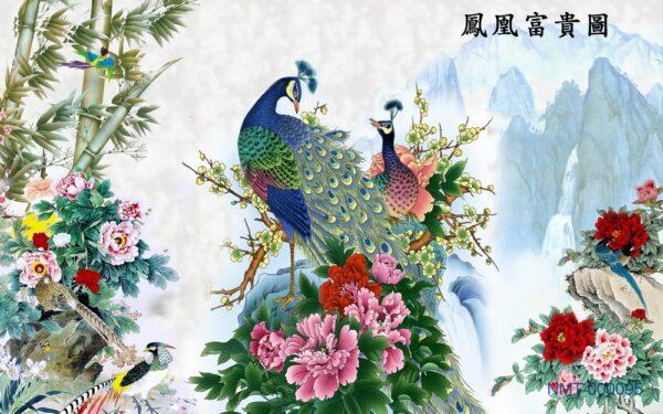 Tranh dán tường 3D Chim công và núi non hùng vĩ