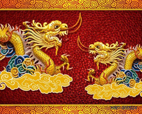 Tranh dán tường 3D Hai chú rồng vàng