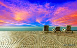 Tranh dán tường 3D hoàng hôn biển