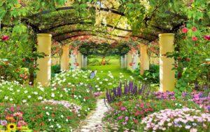 Tranh dán tường 3D Khu vườn trong mơ