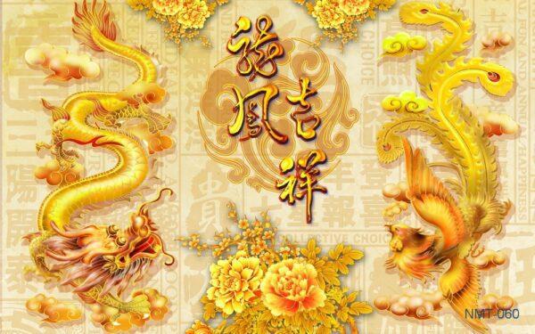 Tranh dán tường 3D Rồng vàng uốn lượn