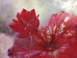 Tranh Hoa sen đỏ