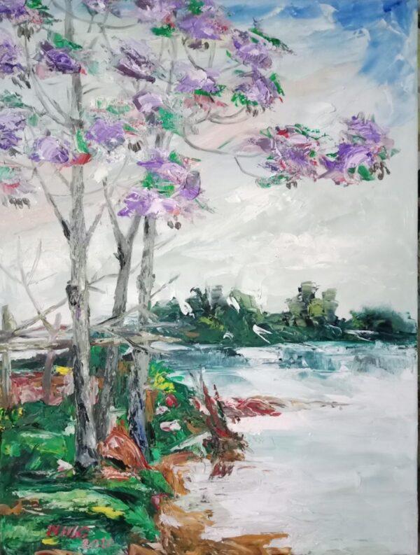 Mùa hoa xoan ven sông