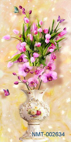 Tranh dán tường 3D bình hoa lan