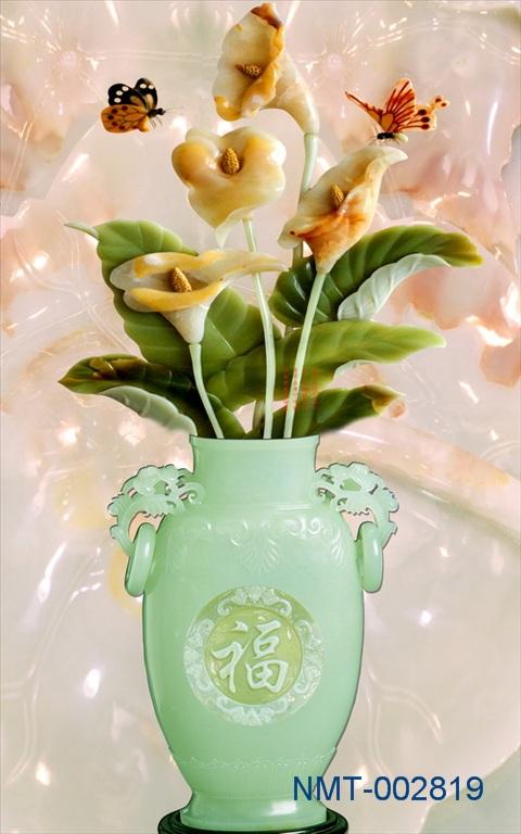 Tranh dán tường 3D bình hoa ngọc ngà