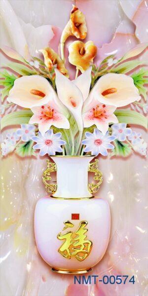 Tranh dán tường 3D bình hoa ngọc vàng