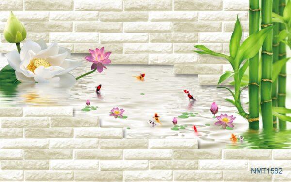 Tranh dán tường 3D Bức tường thiên nhiên
