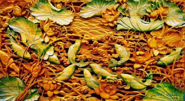 Tranh dán tường 3D cá chép bên hoa sen
