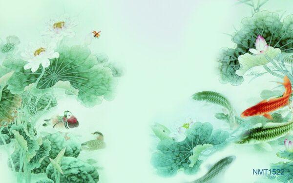 Tranh dán tường 3D cá chép hoa sen