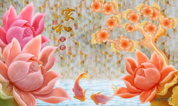 Tranh dán tường 3D cá chép hồng ngọc