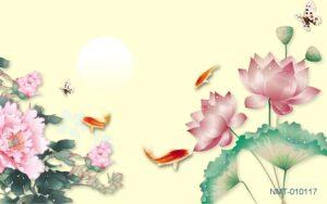 Tranh dán tường 3D cá vàng bên hoa