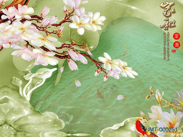 Tranh dán tường 3D hoa đại bên hồ