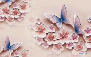Tranh dán tường 3D hoa đào hồng khoe sắc