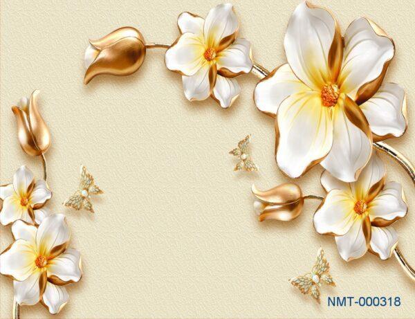 Tranh dán tường 3D hoa dát vàng
