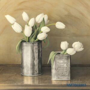 Tranh dán tường 3D hoa tulip trắng
