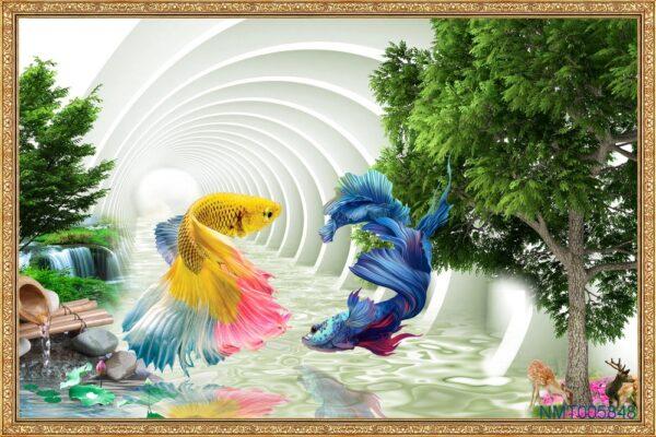 Tranh dán tường 3D những chú cá Xiêm (Betta)