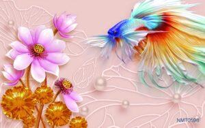 Tranh dán tường 3D vũ điệu bên hoa