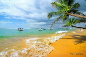 Tranh dán tường 3D biển xanh cát vàng