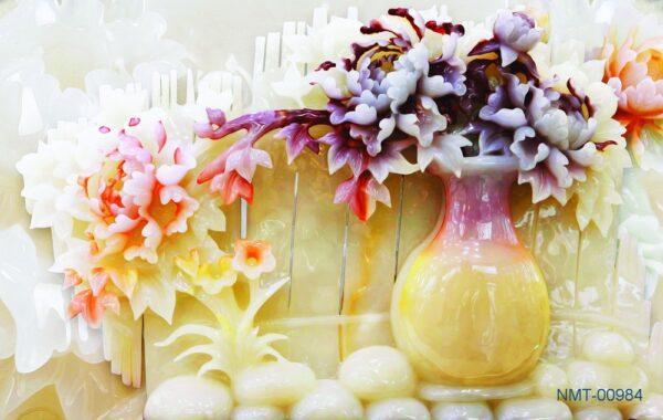 Tranh dán tường 3D bình hoa ngọc