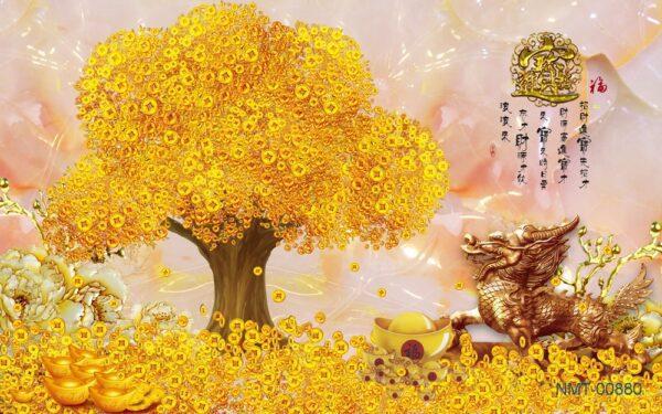 Tranh dán tường 3D cây kim tiền vàng