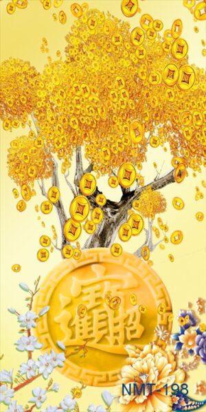 Tranh dán tường 3D cây tài lộc vàng