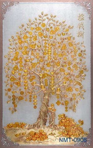 Tranh dán tường 3D cây tài lộc vàng nén