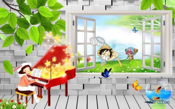 Tranh dán tường 3D cửa sổ âm nhạc