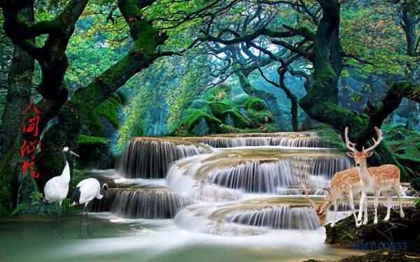 Tranh dán tường 3D dòng suối giữa rừng cây xanh