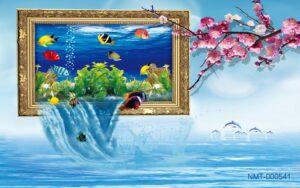Tranh dán tường 3D hồ cá đến biển khơi