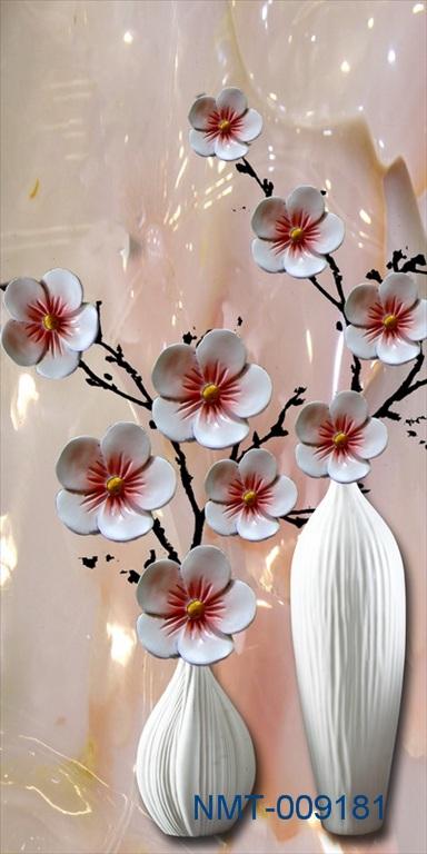 Tranh dán tường 3D hoa đào sứ