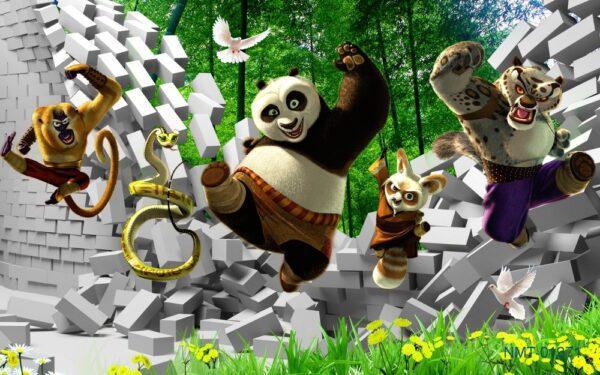 Tranh dán tường 3D kungfu panda