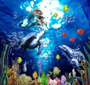 Tranh dán tường 3D nàng tiên cá