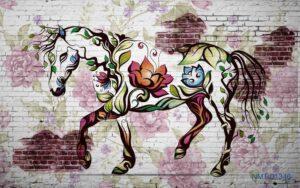 Tranh dán tường 3D ngựa hoa