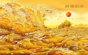Tranh dán tường 3D những con sóng vàng
