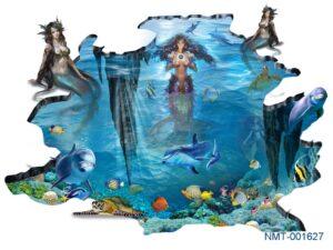 Tranh dán tường 3D những nàng tiên cá