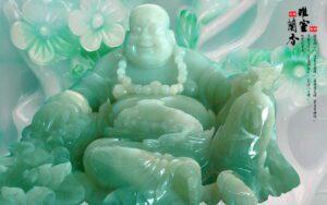 Tranh dán tường 3D Phật Di Lặc bằng ngọc