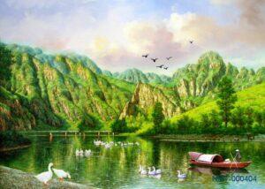Tranh dán tường 3D sông núi yên bình