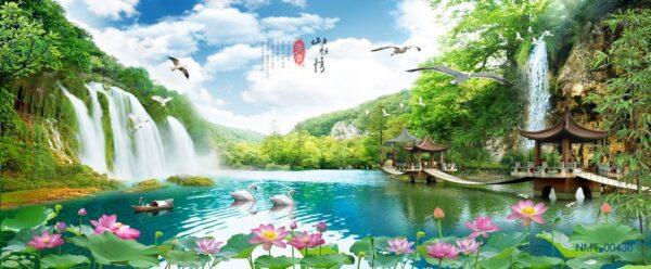 Tranh dán tường 3D thác nước bên rừng cây xanh