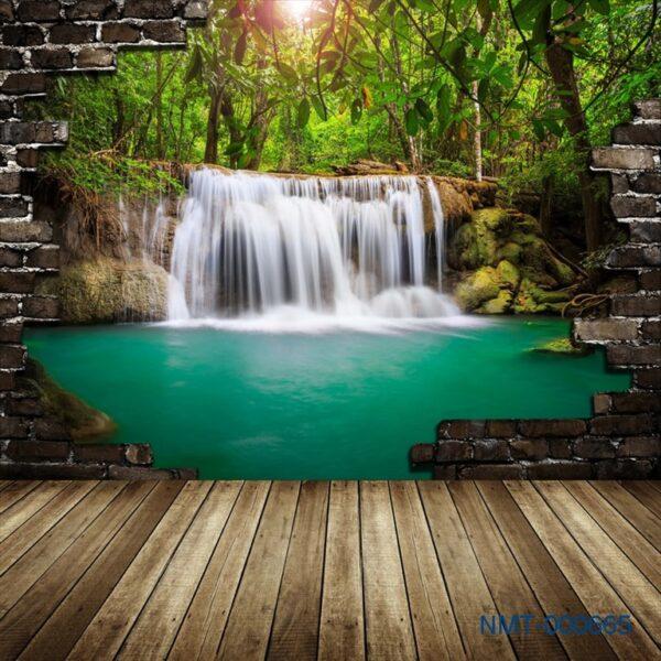 Tranh dán tường 3D thác nước giữa rừng xanh