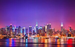 Tranh dán tường 3D thành phố về đêm