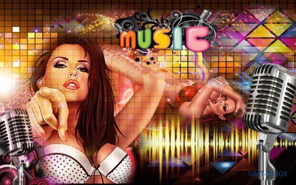 Tranh dán tường 3D thế giới âm nhạc