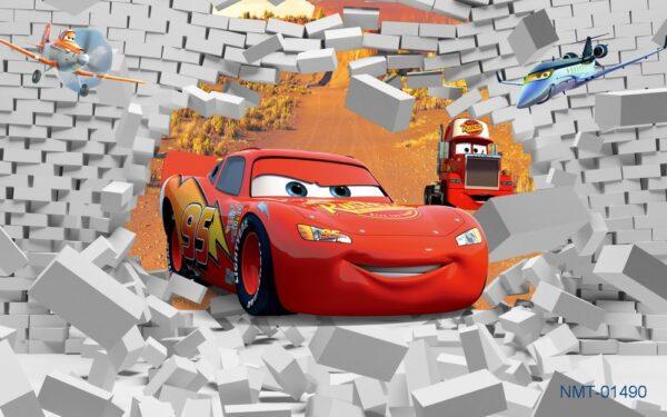 Tranh dán tường 3D thế giới xe hơi