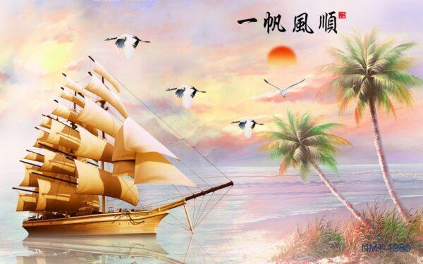 Tranh dán tường 3D thuận buồm xuôi gió #1