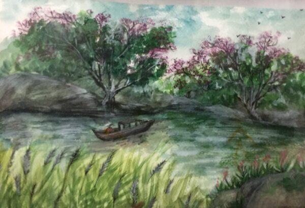 Hoa bên hồ
